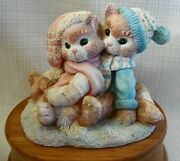 Enesco Calico Kittens Musical We Wish You A Merry Christmas 1993 On Wood Base