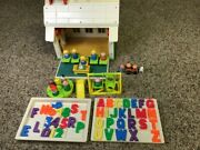 Vintage Fisher Price School House Little People Play Family Loaded And Extras