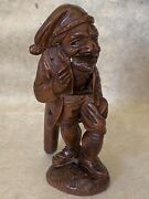 Antique Chap With Toboggan Cap Standing Wooden Nutcracker, Hand Carved Mid-19thc