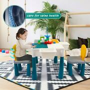 Kids Activity Furniture Table And Chairs Study Set Blocks Building Play Center