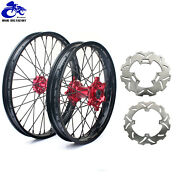 21and19 Complete Wheel Rims Hubs Rotors Set For Honda Crf250r Crf450r 04-12 Cr250r