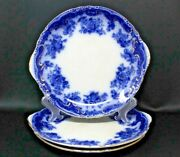 3 Antique Flow Blue Handled Serving Cake Plates Bourne And Leigh Ophir Pattern
