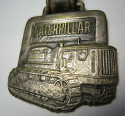 Metal Construction Watch Key Fob/caterpillar Shepard Tractor Co. W/leather Strap