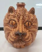 Billy Ray Hussey Indigenous Southern Folk Art Pottery Textured Lion Face Jug