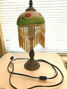 Vintage Hand Painted Glass Flowers Lamp Shade W/ Bead Fringe