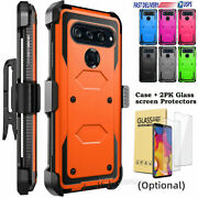 For Lg V40 Thinq Belt Clip Holster Hard Armor Phone Case Cover W/ Tempered Glass