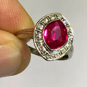 Antique Ruby Ring 14k White Gold Diamond Accents Art Deco Red Lab Created B63