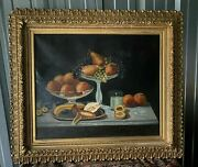 Antique Victorian Gilt Framed Still Life Table Setting Fruit Oil Painting Canvas