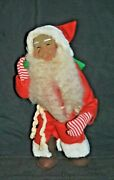 Antique/ Vintage Santa Claus Doll In Red Suit With Green Bag 12 Tall