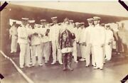 Naval Officers And Sailors On Deck With Santa Photo