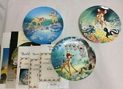 3 Knowles Disney Collector Plates Bambi - Bashful, Possums, And New Friends