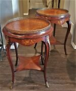 Pr Antique Vtg Louis Xv French Tables Nightstands Inlaid Marquetry Ormolu Brass