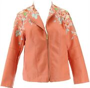 Colleen Lopez Embroidered Faux Leather Jacket Terra S New 638-980