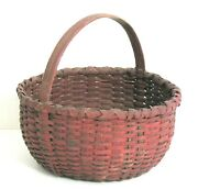 Antique New England Red Painted Farm Gathering Basket. Folk Art Country Store.
