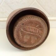 Antique Primitive Early Wood Carved Acorn And Leaves Butter Mold Stamp Print