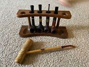 Vtg Estate Smoking Pipe Lot 5 Pipes And Pipe Stand - Large Corn Cob/medico/grabow