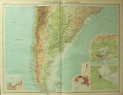 1922 Large Antique Map Southern South America Chile Argentina Montevideo