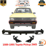 Front Bumper Primed + Mount Arm Bracket Pair For 1989-1995 Toyota Pickup 2wd