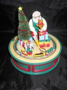 Enesco Style Christmas Santa Spinning Bear/moving Train And Crossing Gate Musical