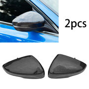 Carbon Fiber Rear View Side Mirror Cover Decor 2pcs Fit For 2019-2020 Ford Focus