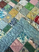 Vtg Double Sided Half Square Triangle Feedsack Quilt 60x83 Cutter Stacker Repair