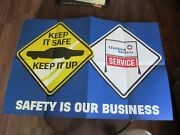 Vintage United Delco Service Safety Poster - Keep It Safe Keep It Up - 30 X 20
