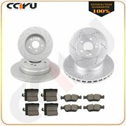 Front + Rear Slotted Brake Rotors Ceramic Pads For Mercedes-benz C230 1999 - 00