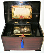 Antique 8 Air Cylinder Music Box With 4 Bells And Drum Watch Video. C1880s