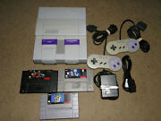 Nintnedo Snes Video Game System Bundle W/ 3 Games2 Controllers Works Great