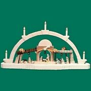 Candle Arches Carved Nativity Coloured 14 3/16in Chandelier Bow Erzgebirge New
