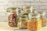 Kitchen Glass Storage Air Tight Seal Jar With Metal Clamp Lid 4 Pcs In 1 Set