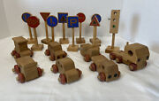 Vintage Montgomery Schoolhouse Wood Toys 17 Rare Street Signs/cars/airplane