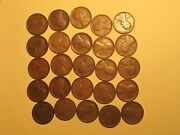 1/2 Roll 1909 Vdb Lincoln Wheat Cents Penny Good Or Better Condition 25 Coins