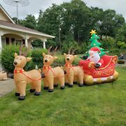 15ft Air Blown Inflatable Santa Sleigh Animated North Pole Express Christmas