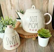 Rae Dunn Sweet Honeypot And Best Mom Teapot Set W/ Pink Handle And Flowers Gift Set