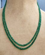 Zambian Emeralds 2 Row Necklace 3 Mm Beads Natural Gemstones Beaded Necklace
