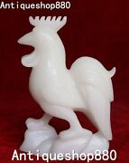 8 Unique China White Jade Carving Wealth Chicken Rooster Chick Animal Statue