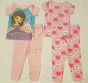 Sofia The First 4 Piece Pajamas Set Short Sleeve Shirt Pants Size 2t 3t 4t 5t