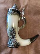 German Lidded Horn-style Beer Stein With Pewter Lid Stuttgart Free Shipping