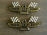 Ford 302 Crossed Flag Fender Emblems Gold Mustang Fairlane Galaxie Falcon 1965 +
