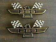 Ford 289 Crossed Flag Fender Emblems Gold Mustang Fairlane Galaxie Falcon 1965 +