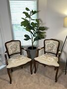 Vintage Louis Xv Courting Couple Tapestry Armchair Set, Chateau D'ax. Flawless.
