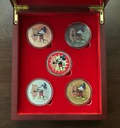 Five 1 Oz Colorized Silver Steamboat Willie Rounds / Gold, Ruthenium, Rose Gold