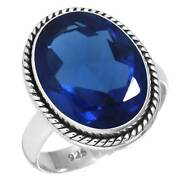 925 Sterling Silver Women Jewelry Blue Sapphire Simulated Ring Size 10.5 Ij67692