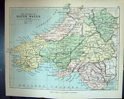 Antique Old Print Philips Map 1882 South Wales Carmarthen Pembroke Cardiff 19th