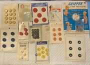 Antique/vintage Buttons Sewing Lot 3 On Original Cards
