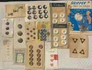 Antique/vintage Buttons Sewing Lot 5 On Original Cards