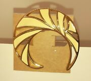 Monet Brooch And Clip Earring Set - Vintage - Gold Tone - Cream Enameled - 2 1/4
