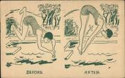 1948 Learning To Dive-girl Scout Camp Chrome Postcard 1c Stamp Vintage Post Card