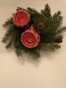 2 Vtg Unbreakable Plastic Christmas Tree Ornaments Red Round Indent Reflectors